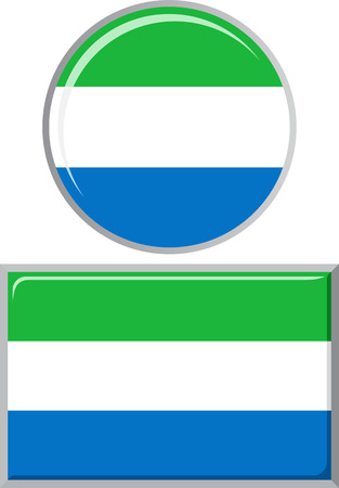 distance marker: Sierra Leone round and square icon flag. Vector illustration Eps 8.