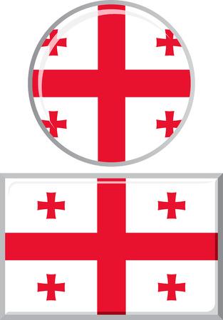 georgian: Georgian round and square icon flag. Vector illustration Eps 8.