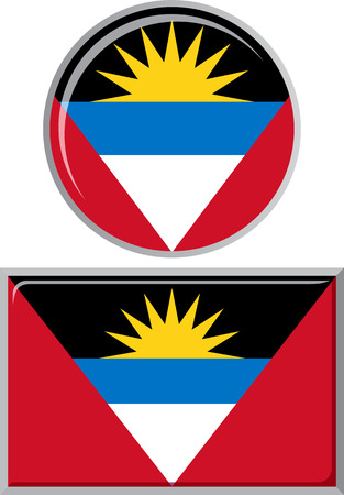 antigua: Antigua and Barbuda round, square icon flag. Vector illustration Eps 8.