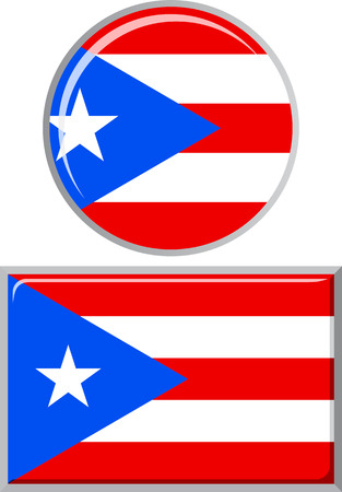 rican: Puerto Rico round and square icon flag. Vector illustration Eps 8.