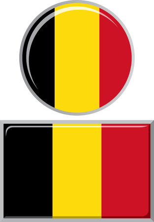 distance marker: Belgian round and square icon flag. Vector illustration Eps 8.