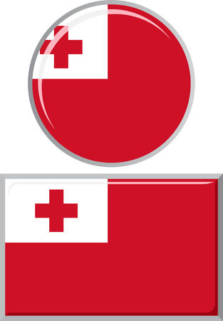 tonga: Tonga round and square icon flag. Vector illustration Eps 8.