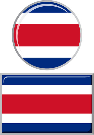 rican: Costa Rican round and square icon flag. Vector illustration Eps 8.
