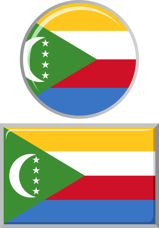 comoros: Comoros round and square icon flag. Vector illustration Eps 8. Illustration