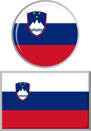 slovenian: Slovenian round and square icon flag. Vector illustration Eps 8. Illustration