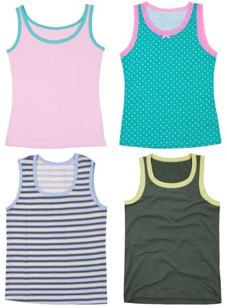 peignoir: Set of sleeveless shirts. Isolated on a white background. Stock Photo