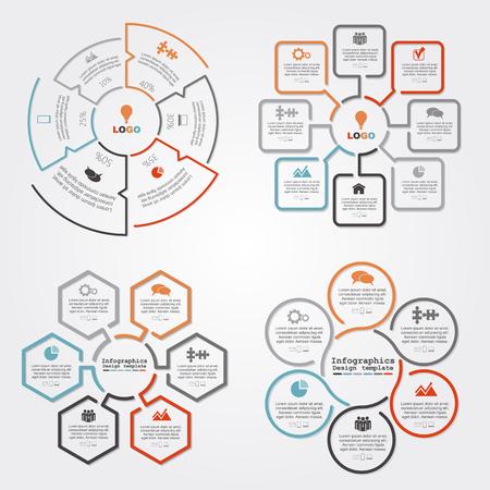 folleto: Conjunto de infografía informe composición de la plantilla. ilustración vectorial Vectores