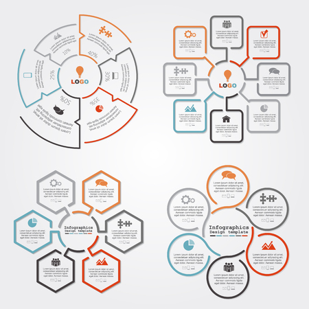 Set of infographics report template layout. Vector illustration