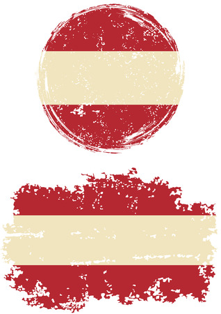 austrian: Austrian round and square grunge flags. Vector illustration. Grunge effect can be cleaned easily.