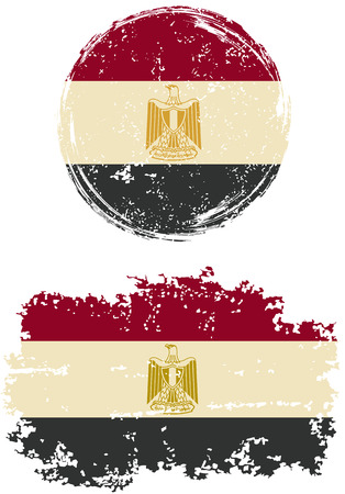 cleaned: Egyptian round and square grunge flags. Vector illustration. Grunge effect can be cleaned easily. Illustration