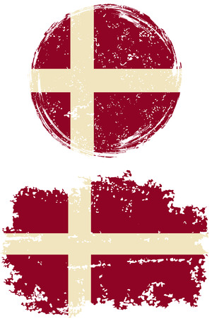 danish: Danish round and square grunge flags. Vector illustration. Grunge effect can be cleaned easily.