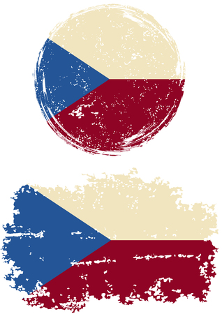 cleaned: Czech round and square grunge flags. Vector illustration. Grunge effect can be cleaned easily.
