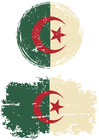 algerian: Algerian round and square grunge flags. Vector illustration. Grunge effect can be cleaned easily. Illustration