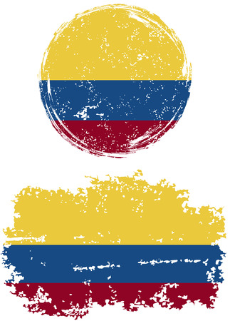colombian: Colombian round and square grunge flags. Vector illustration. Grunge effect can be cleaned easily.