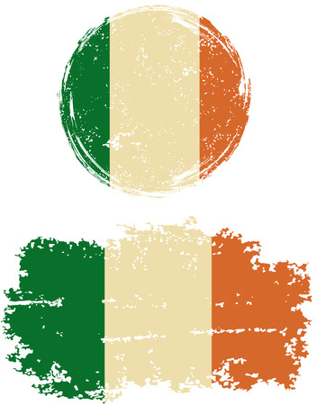 cleaned: Irish round and square grunge flags. Vector illustration. Grunge effect can be cleaned easily. Illustration