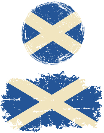 cleaned: Scottish round and square grunge flags. Vector illustration. Grunge effect can be cleaned easily.