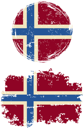 norwegian: Norwegian round and square grunge flags. Vector illustration. Grunge effect can be cleaned easily.
