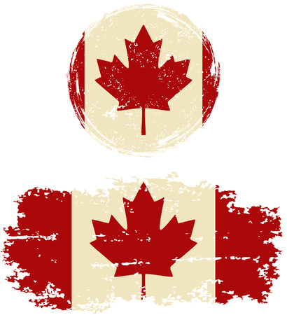cleaned: Canadian round and square grunge flags. Vector illustration. Grunge effect can be cleaned easily. Illustration
