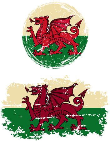 welsh: Welsh round and square grunge flags. Vector illustration. Grunge effect can be cleaned easily.