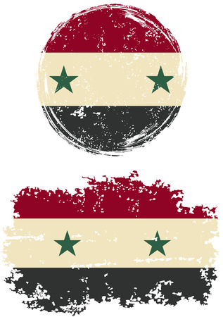 cleaned: Syrian round and square grunge flags. Vector illustration. Grunge effect can be cleaned easily. Illustration