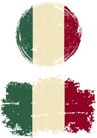 cleaned: Italian round and square grunge flags. Vector illustration. Grunge effect can be cleaned easily. Illustration
