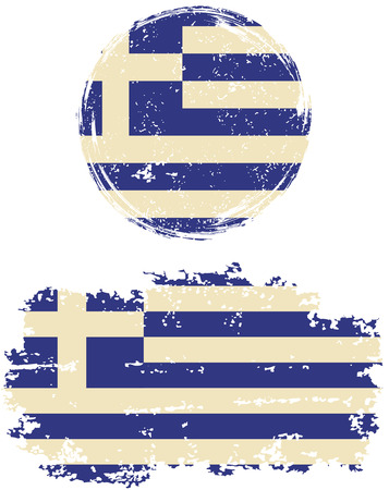 Greek round and square grunge flags. Vector illustration. Grunge effect can be cleaned easily.