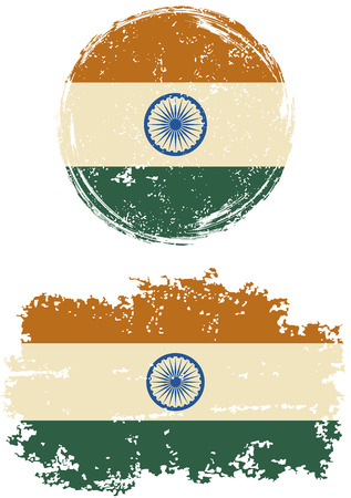 national flag: Indian round and square grunge flags. Vector illustration. Grunge effect can be cleaned easily. Illustration