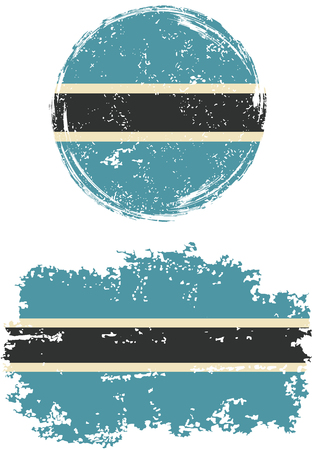 cleaned: Botswana round and square grunge flags. Vector illustration. Grunge effect can be cleaned easily.