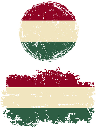 hungarian: Hungarian round and square grunge flags. Vector illustration. Grunge effect can be cleaned easily.
