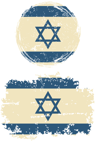 cleaned: Israeli round and square grunge flags. Vector illustration. Grunge effect can be cleaned easily. Illustration