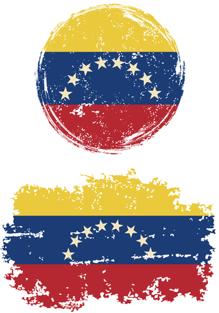 venezuelan flag: Venezuelan round and square grunge flags. Vector illustration. Grunge effect can be cleaned easily.