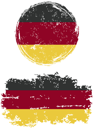 cleaned: German round and square grunge flags. Vector illustration. Grunge effect can be cleaned easily.