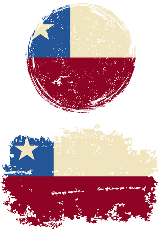 chilean: Chilean round and square grunge flags. Vector illustration. Grunge effect can be cleaned easily.