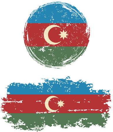 azerbaijani: Azerbaijani round and square grunge flags. Vector illustration. Grunge effect can be cleaned easily.