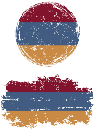 armenian: Armenian round and square grunge flags. Vector illustration. Grunge effect can be cleaned easily. Illustration
