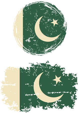 pakistani: Pakistani round and square grunge flags. Vector illustration. Grunge effect can be cleaned easily.