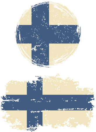 easily: Finnish round and square grunge flags. Vector illustration. Grunge effect can be cleaned easily.