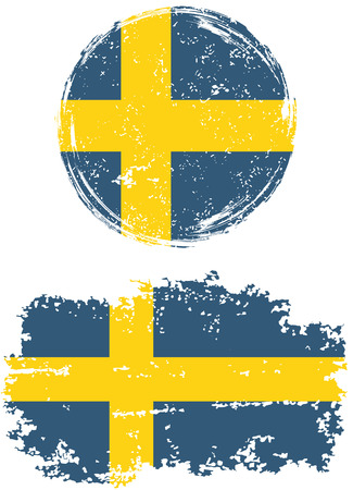 cleaned: Swedish round and square grunge flags. Vector illustration. Grunge effect can be cleaned easily.