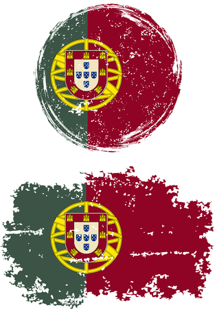 cleaned: Portuguese round and square grunge flags. Vector illustration. Grunge effect can be cleaned easily.