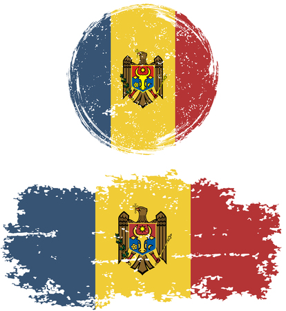 moldavia: Moldovan round and square grunge flags. Vector illustration. Grunge effect can be cleaned easily.