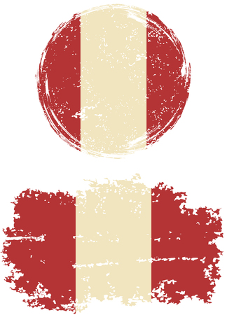 peruvian: Peruvian round and square grunge flags. Vector illustration. Grunge effect can be cleaned easily. Illustration
