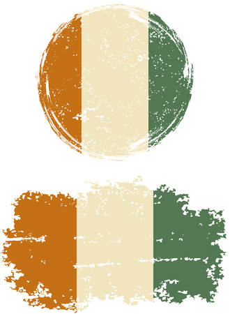 cote ivoire: Cote d Ivoire round and square grunge flags. Vector illustration. Grunge effect can be cleaned easily.