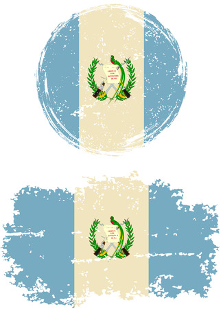 guatemalan: Guatemalan round and square grunge flags. Vector illustration. Grunge effect can be cleaned easily.