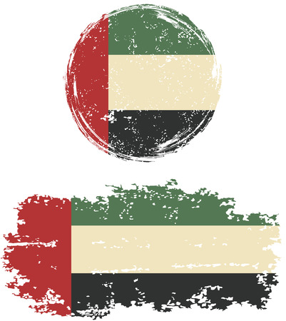 arab flags: United Arab Emirates round and square grunge flags. Vector illustration. Grunge effect can be cleaned easily. Illustration