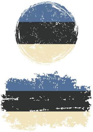 cleaned: Estonian round and square grunge flags. Vector illustration. Grunge effect can be cleaned easily. Illustration
