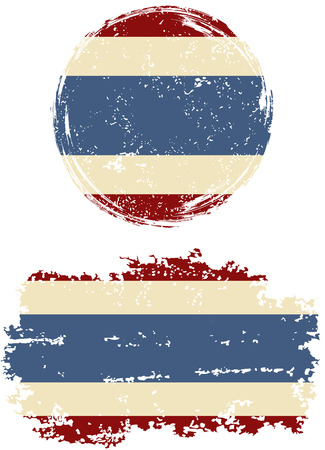 cleaned: Thailand round and square grunge flags. Vector illustration. Grunge effect can be cleaned easily. Illustration