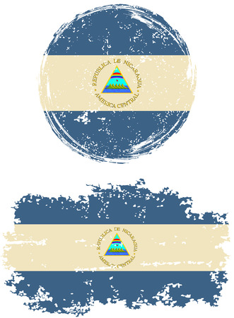 nicaraguan: Nicaraguan round and square grunge flags. Vector illustration. Grunge effect can be cleaned easily. Illustration