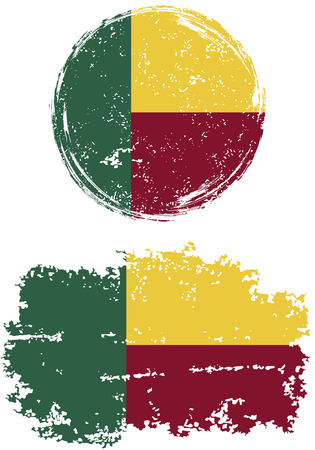 cleaned: Benin round and square grunge flags. Vector illustration. Grunge effect can be cleaned easily.