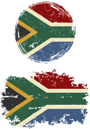 south african: South African round and square grunge flags. Vector illustration. Grunge effect can be cleaned easily. Illustration