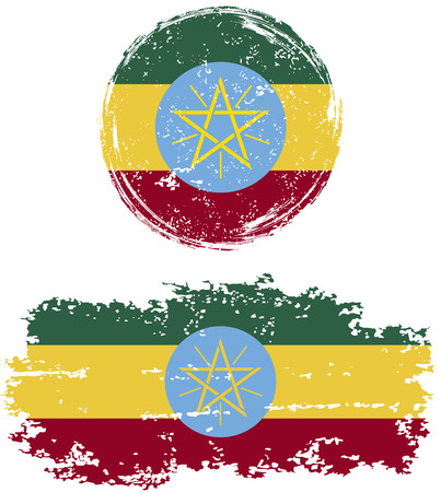 cleaned: Ethiopian round and square grunge flags. Vector illustration. Grunge effect can be cleaned easily.